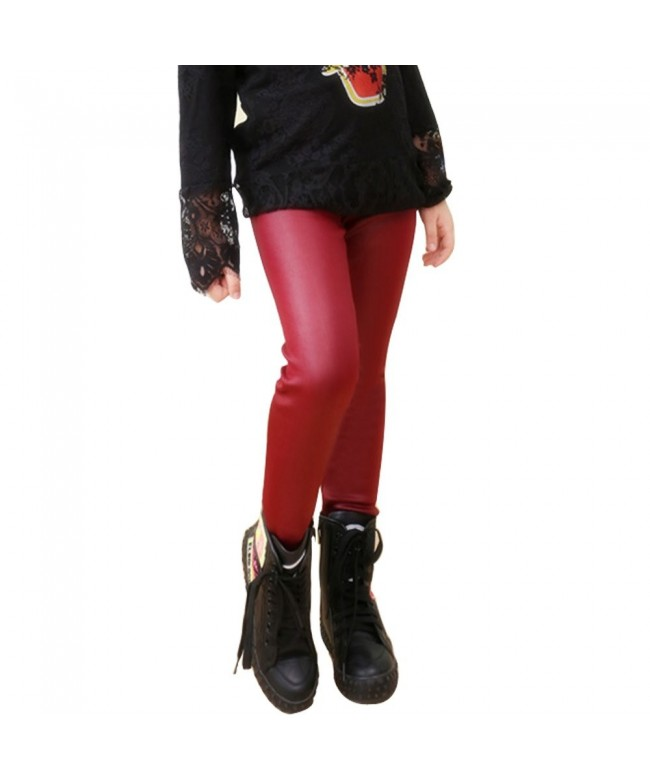 Tulucky Winter Leather Stretchy Leggings