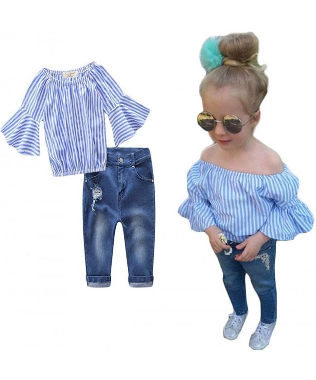 Girls Striped Off shoulder Denim Outfits