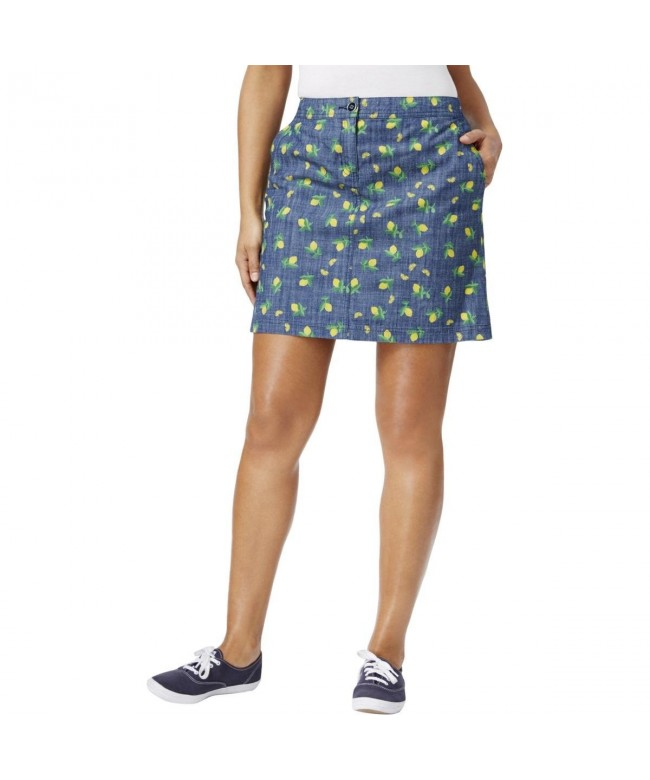 Karen Scott Print Denim Skirt