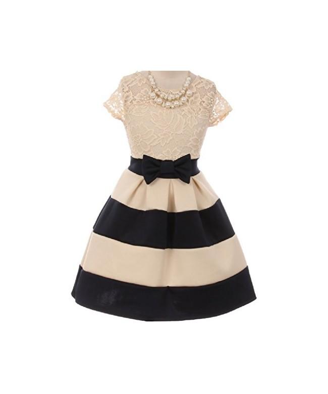 Flower Dress Stripe Pattern Necklace