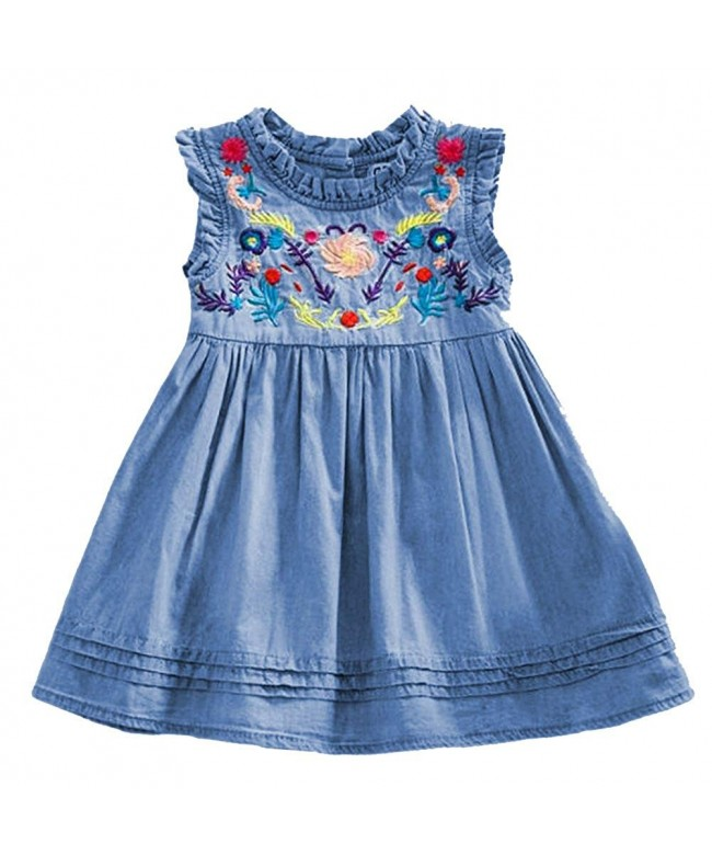 UNIQUEONE Summer Embroidered Sleeveless Princess