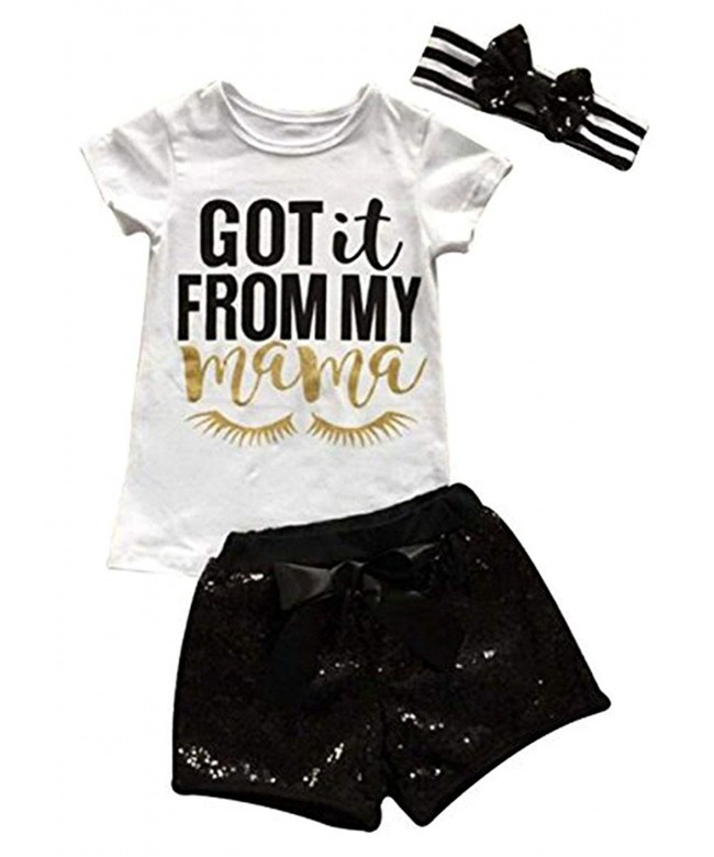 Letters T Shirt Sequins Shorts Headbands