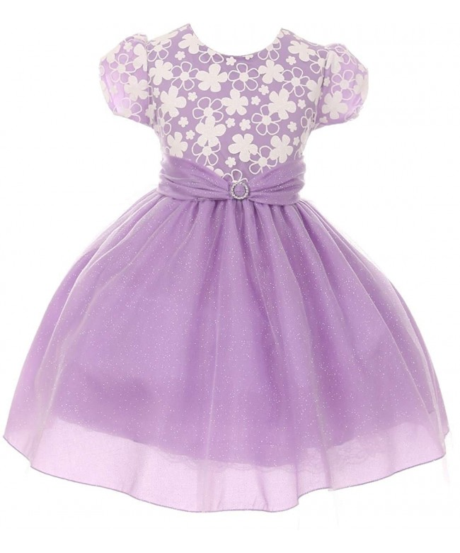 Girls Sleeve Glitter Pageant Flower