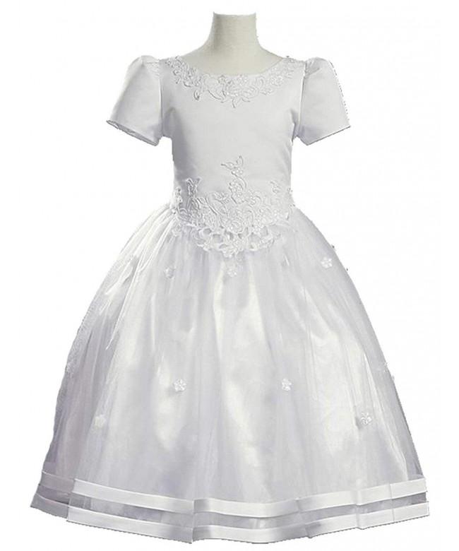White Satin Communion Baptism Dress