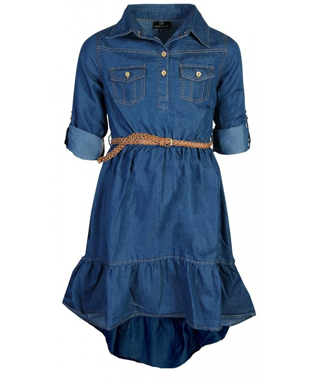 dollhouse Girls Belted High Low Chambray