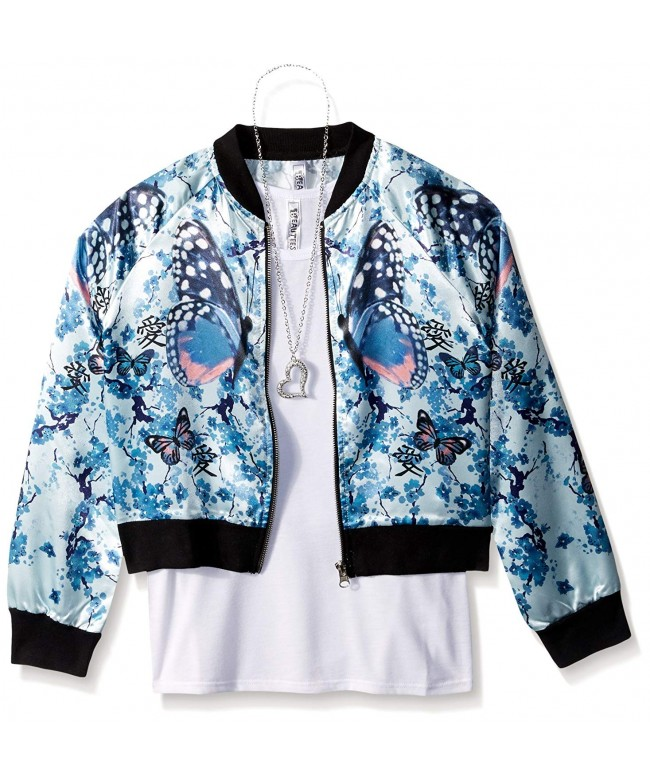 Beautees Girls Butterfly Bomber Jacket