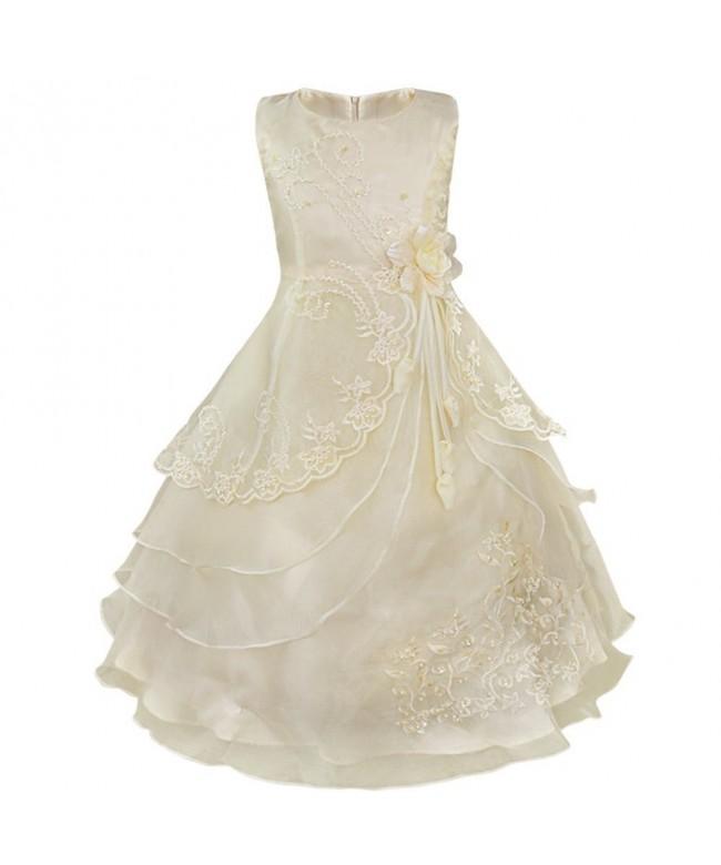 TiaoBug Sleeveless Embroidered Bridesmaid Princess