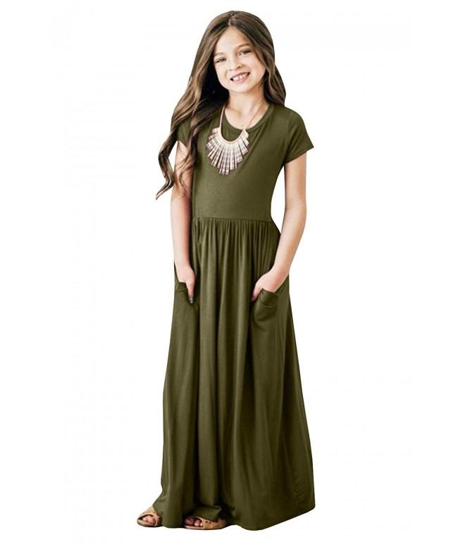 Foshow Sleeve Pleated Dresses Pockets
