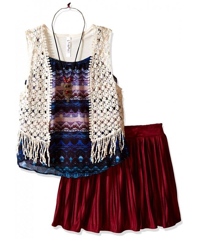 Beautees Girls Tank Pleated Crochet