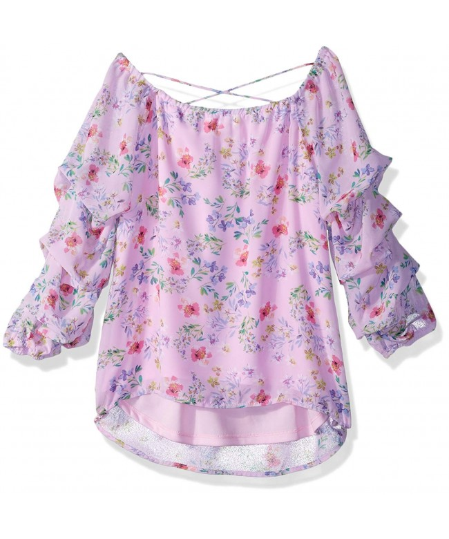 Beautees Girls Big Ruffle Printed