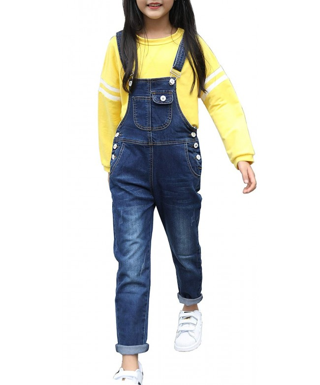 Sitmptol Girls Distressed Overalls Cuffed