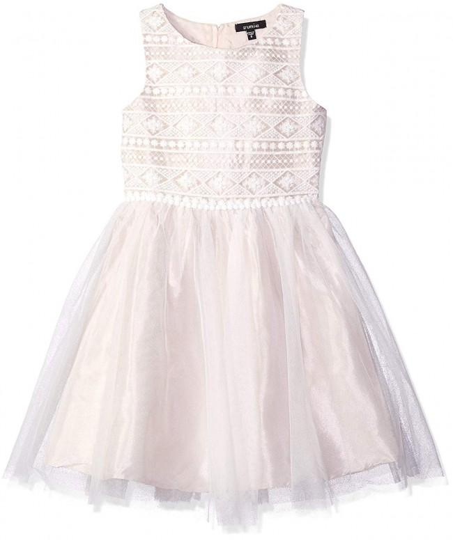 ZUNIE Girls Sleeveless Embroidered Ballerina