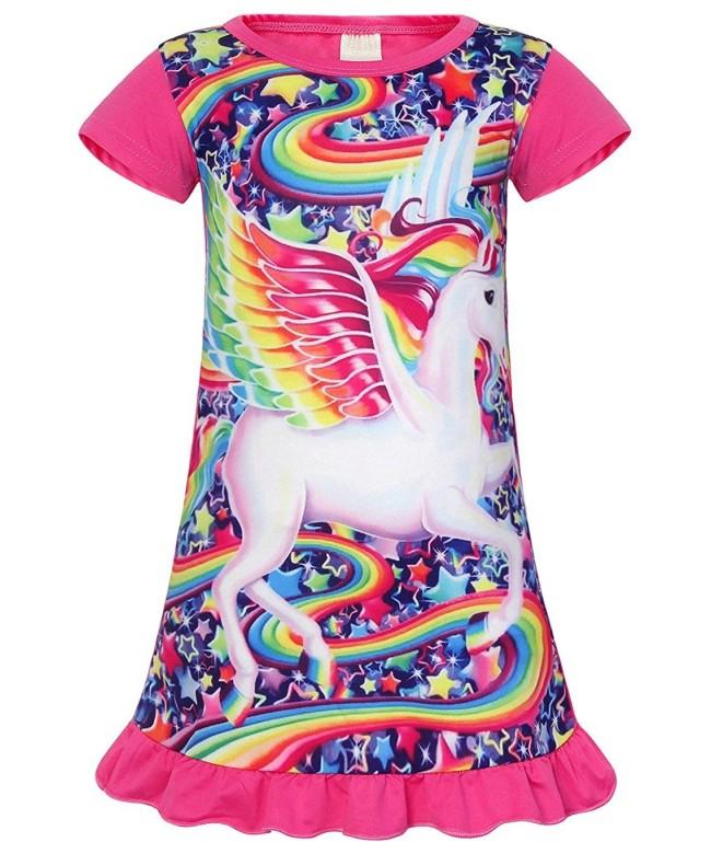 AmzBarley Unicorn Nightgown Rainbow Sleepwear