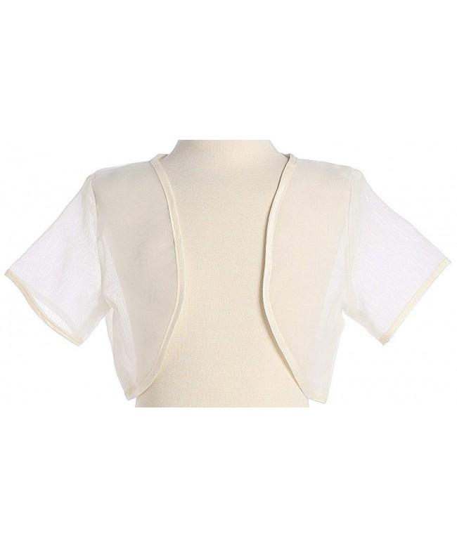 Girls Ivory Organza Bolero Jacket