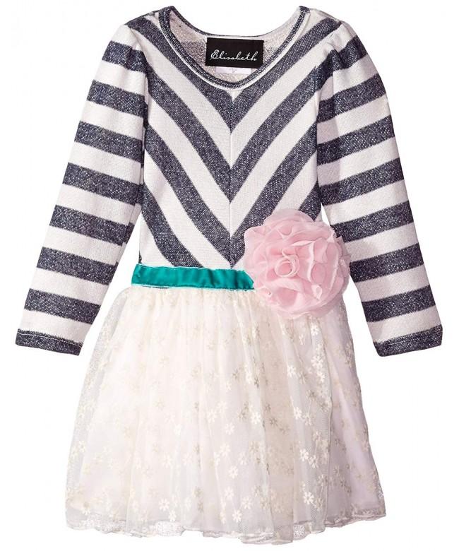 Elisabeth Little Girls Stripe Flower