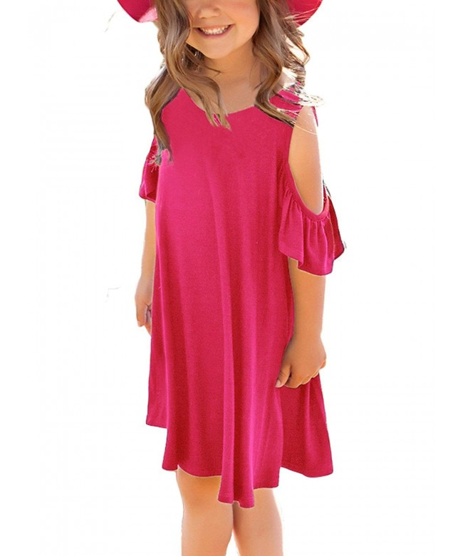ELEGZO Girls Shoulder Ruffle Sleeves