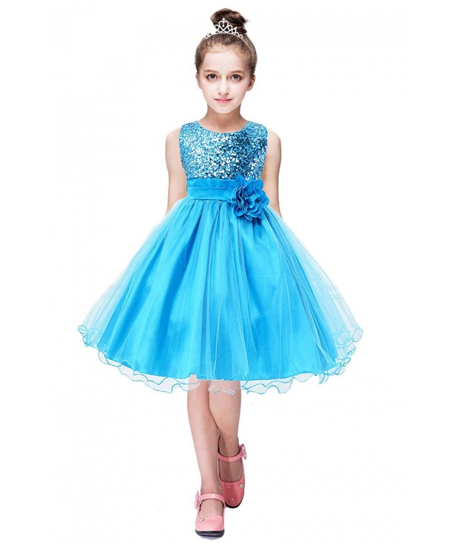 YMING Girl/'s Dress Flower Bow Party Dress Princess Tutu Shiny Lace Dress