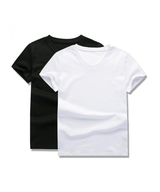 UNACOO Cotton Short Sleeve V Neck T Shirt