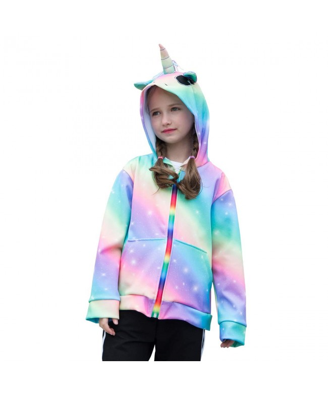 Rainbow Unicorn Sweatshirt Clothes Pockets