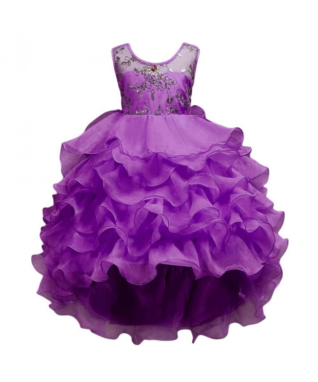 Dress Kids Ruffles Lace Party Wedding Dresses Birthday Purple Cd18g83e7w3