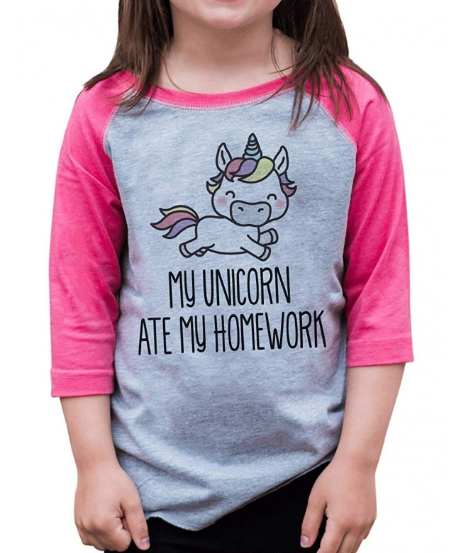 ate Apparel Unicorn Homework Baseball