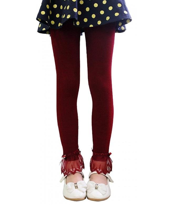 Girls Solid Leggings Ribbon Bowknot