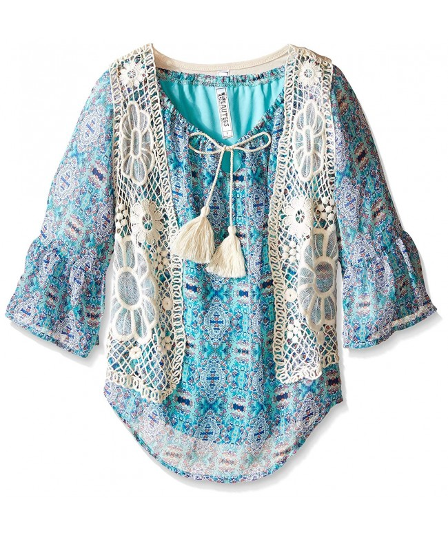 Beautees Girls Lace Vest Print