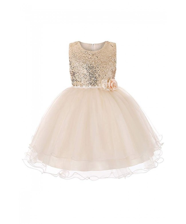 YMING Flower Sequin Princess Sleeveless