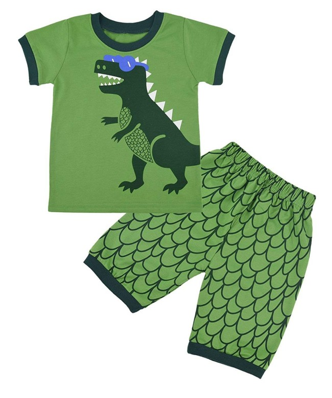 2019 New Baby Boy Girl Short Sleeve Dinosaur Tops+Pants Pajamas Sleepwear Outfits