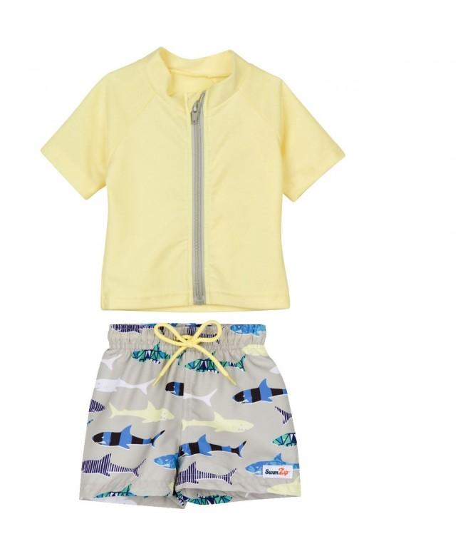 SwimZip Zipper Sleeve Swimsuit Yellow