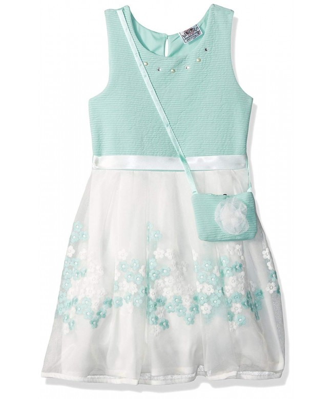 Beautees Girls Sleeveless Embroidered Tulle