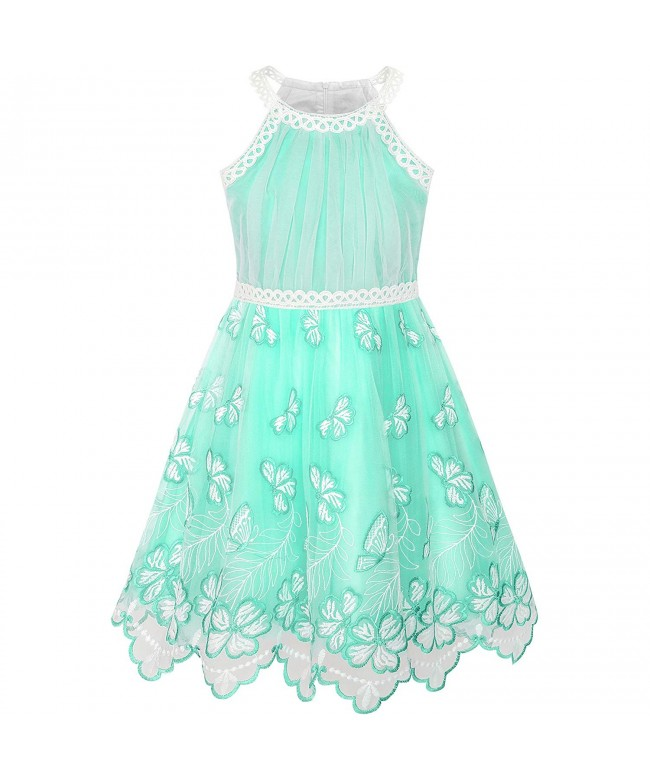 Sunny Fashion Turquoise Butterfly Embroidered