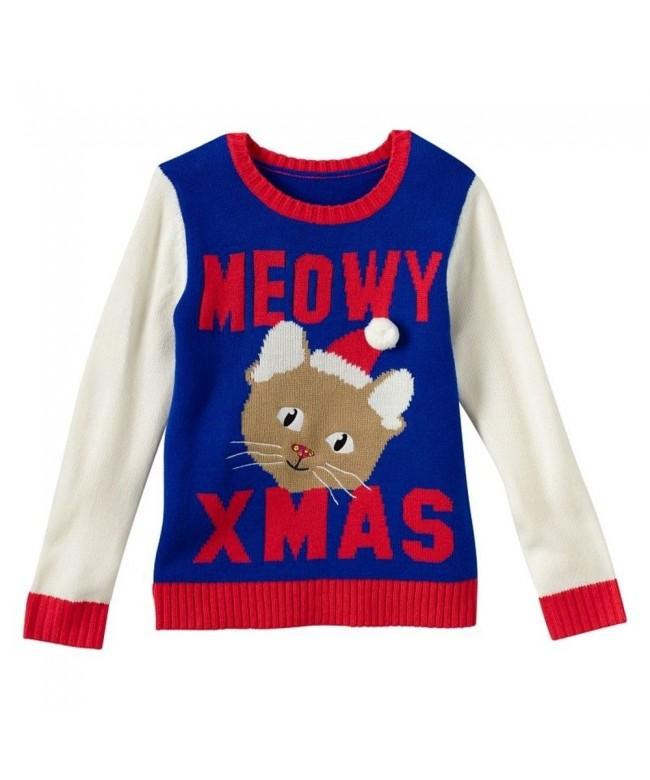 Girls Cat Christmas Sweatshirt Large