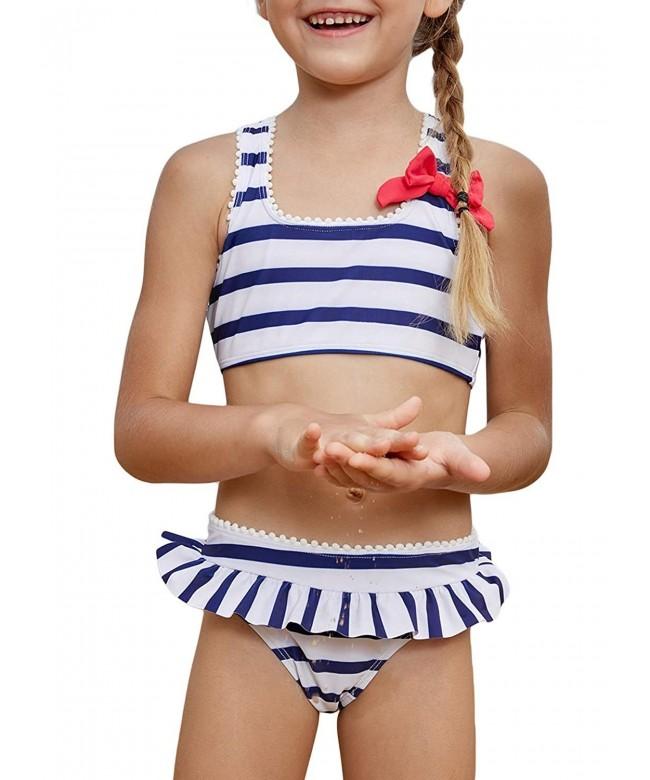 Aleumdr Stripes Swimsuit Swimwear Flounce
