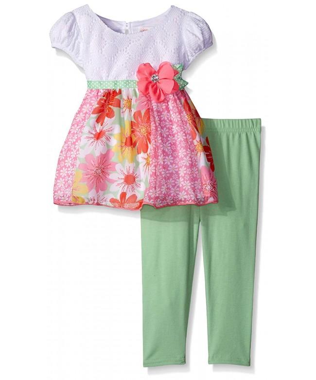 Youngland Crochet Floral Chiffon Legging