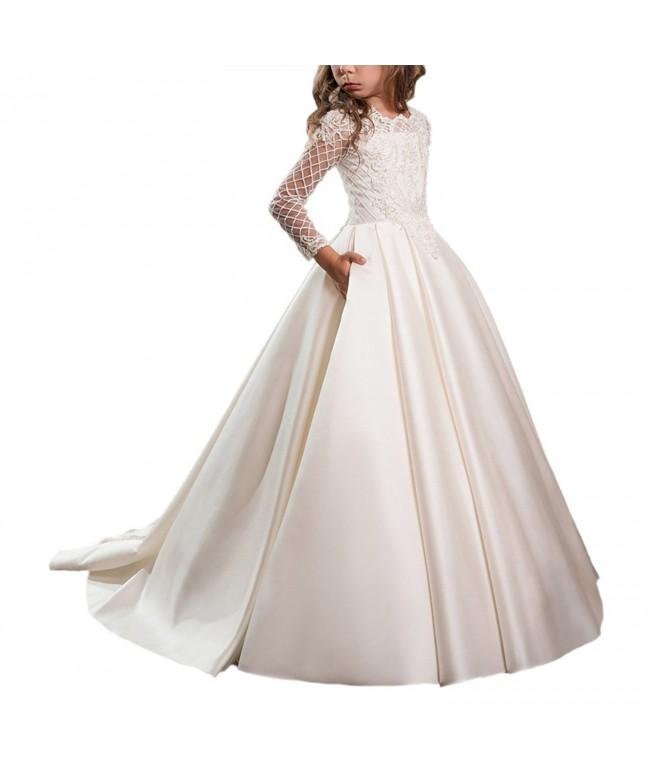 WDE Satin Communion Dresses Sleeves