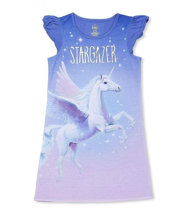 Periwinkle Stargazer Unicorn Ruffle Nightgown