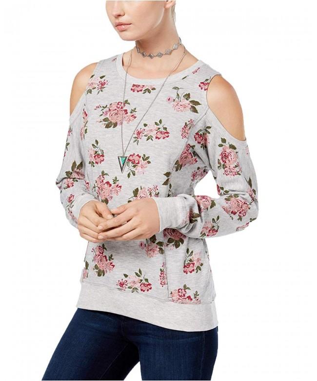 Ultra Flirt Floral Print Cold Shoulder Sweatshirt