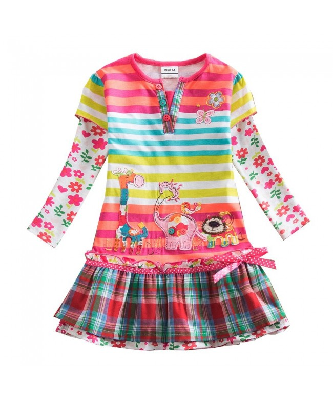 VIKITA Cartoon Flower Cotton Dresses