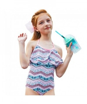 120 Anbenser Girls One Piece Swimsuits Ruffle Swimwear Beach Bathing Suit 5//6year , Blue 1