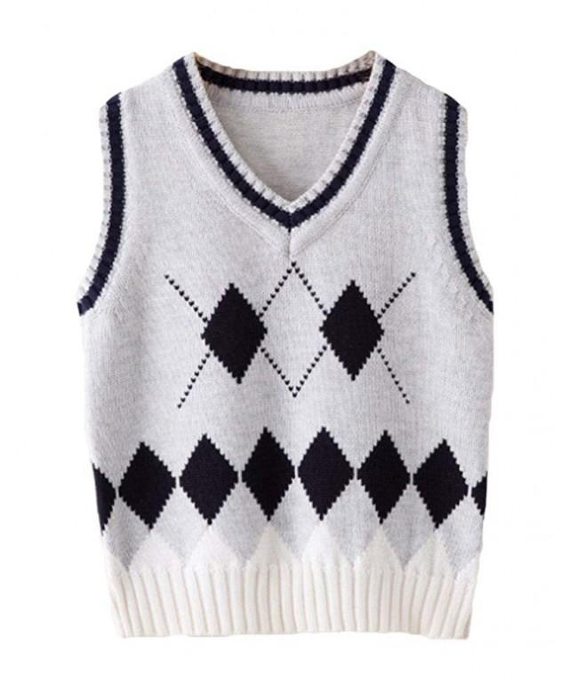 ezShe Rhombus Pullover Sleeveless Sweater