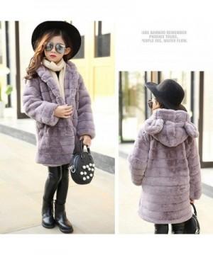 Girls Winter Long Warm Faux Fur Coat Thicken Fake Fox Hooded Front Button Jacket Thicken Outwear Warm Overcoat
