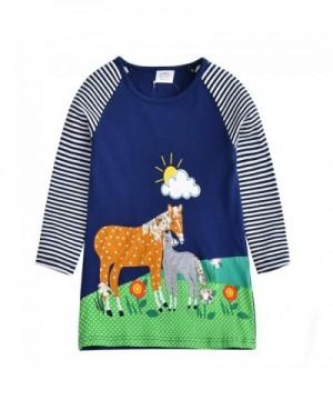 VIKITA Toddler Animal Stripe Dresses