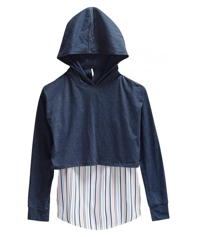 Maddie Girls Hoodie Striped Underlay