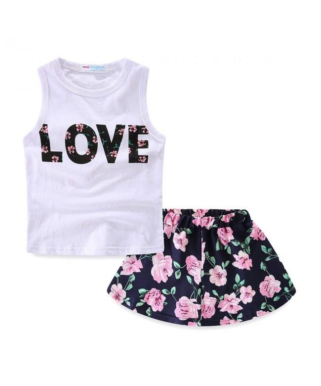 LittleSpring Little Girls Skirt Flower