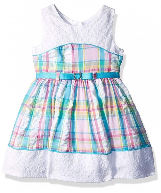 Youngland Girls Seersucker Eyelet Dress