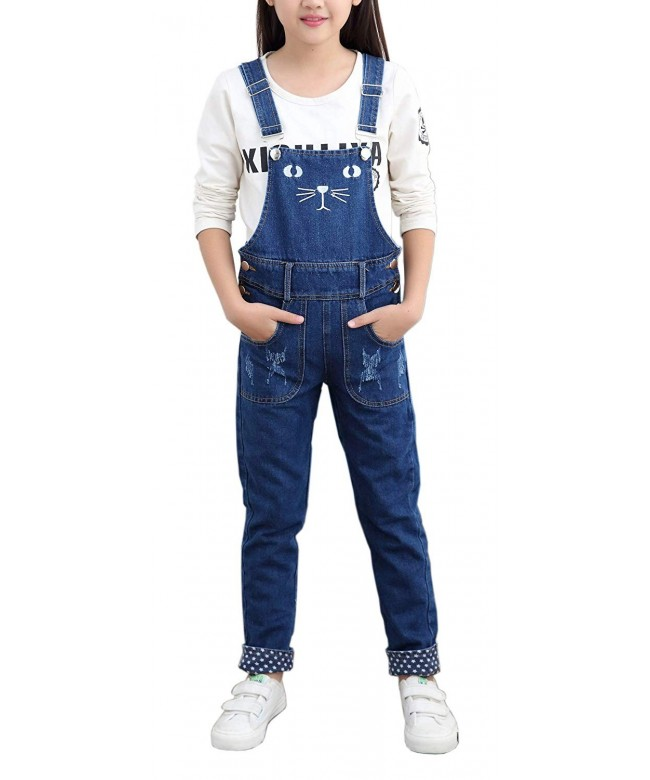 Girls Jeans Embroidered Distressed Overalls