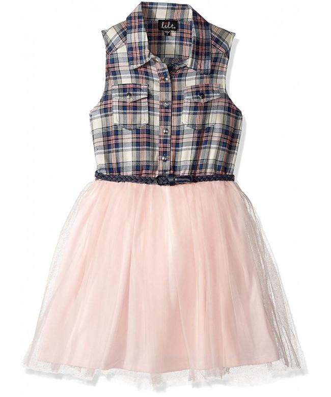 Lilt Girls Plaid Belted Dress