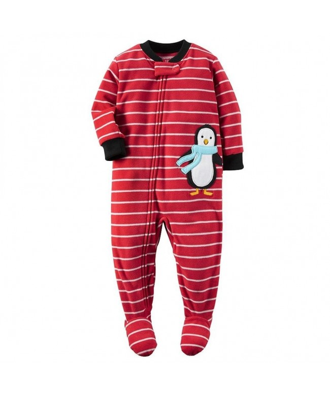 Carters Striped Penguin Fleece Sleeper