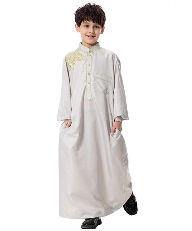 GladThink Muslim Embroidery Sleeves Mandarin